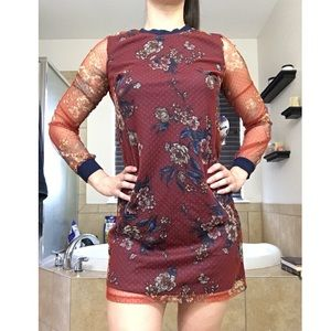 Long Sleeve Lace Floral Dress